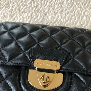 Black Leather Calvin Klein Purse with Gold Chain